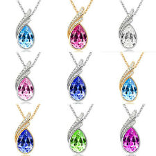 Fashion Women Gold Silver Chain Crystal Rhinestone Pendant Necklace Jewelry Gift