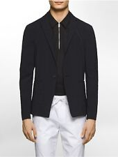 calvin klein mens platinum slim fit stretch crinkle texture one-button jacket