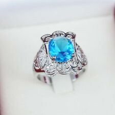 New 925 Silver Plated Rings Sz 7 8 9 Finger Band Ring Crystal Blue Rhinestone
