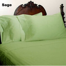800TC 100%Pima Cotton Ultra Soft Sage Green Striped 4PC Sheet Set All Size/Deep
