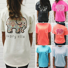Summer Womens Casual Elephant Print Pocket Blouse T Shirt Short Sleeve Beach Top