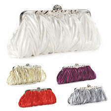 Satin Pleated Evening Bag Clutch Crystals Kiss Lock Women Soft Purse