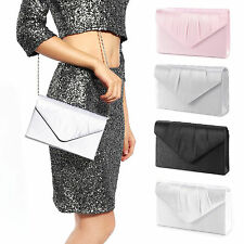 Ladies Satin Evening Clutch Bag Women Bag Purse Wedding Party Bridal Handbag