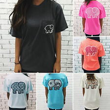 Womens Boho Elephant Print Blouse T-shirt Summer Loose Short Sleeve Beach Tops