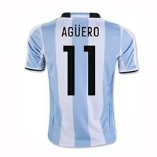 adidas Argentina 2016 Men's Home Jersey Short Sleeve Aguero 11 White/Blue 1605