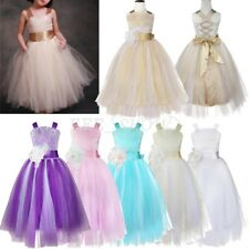 Flower Girl Princess Pageant Wedding Party Formal Crossed Back Kid Dress SZ 2-14