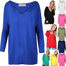 Womens Ladies Off Shoulder V Neck Oversized Lagenlook Layering Baggy T Shirt Top