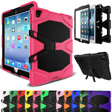 Hybrid Rubber Armor Hard Screen Protector Stand Case Cover For Apple iPad Tablet
