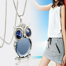 Vintage Owl Crystal Pendant Necklace Cat's Eye Stone Animal Long Sweater Chain