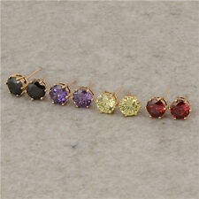 Stunning 18K Yellow Gold Filled Colorful crystal Crystals Womens Stud Earing