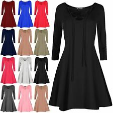 Womens Celebrity Top Ladies V Neck Eyelet Lace Up Long Sleeve Flared Swing Dress
