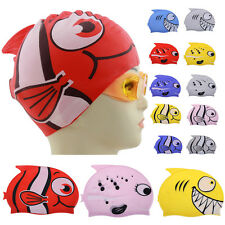 Cute Children Rubber Cartoon Swimming Cap Silicon Diving Waterproof Fish Shark
