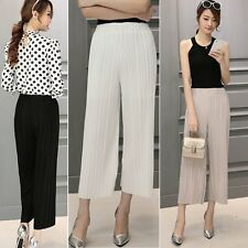 Stylish Women's Loose Pleated Pants Casual High Waist Chiffon Wide-leg Trousers