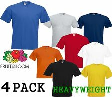 4 MENS FRUIT OF THE LOOM HEAVY COTTON T SHIRTS, PERFECT FOR EVERYDAY & HOLIDAYS