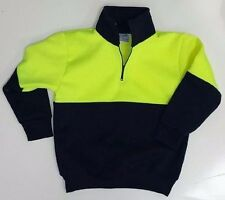 NEW Kids Hi Vis Fleecy 1/2 Zip windcheater Work Jumper Size 2-4 6 8 10 12