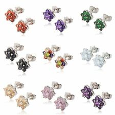 Statement Cute Womens silver plated rainbow crystal small Flower stud earrings