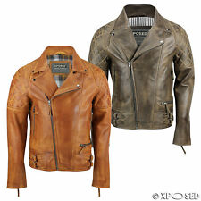 XPOSED Men Real Leather Biker Jacket Vintage Washed Tan Brown Retro Smart Casual