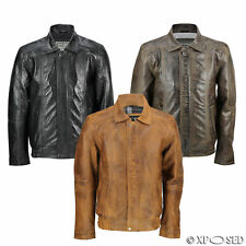 Mens Real Leather Vintage Classic Blouson Collar Bomber Jacket Black Tan Brown