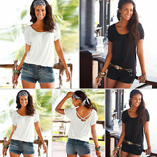 Sexy Ladies Short Sleeve Beach Boho T-shirt Scoop Neck Solid Blouses Tops Tee