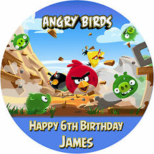 "ANGRY BIRDS GAME 7.5"" ROUND EDIBLE BIRTHDAY CAKE TOPPER DECORATION PERSONALISE"