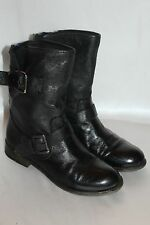 STEVE MADDEN Black Leather Slouch TEMMPT Moto Buckle Stud Zip Ankle Boots 6.5