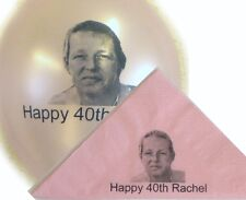 50 Personalised Photo Paper Napkins 40cm 3 Ply Birthday Colours Serviettes Party
