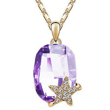 Fashion Women Jewelry Fiver Star Crystal Pendant Silver/Gold Chain Necklace Gift