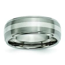 Chisel Titanium Ridged Edge Sterling Silver Inlay 8mm Brushed/Polished Band Ring