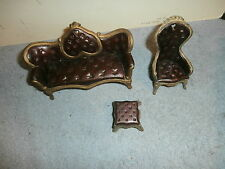 VNTG CAST IRON COUCH SETTEE CHAIR OTTOMAN DOLL HOUSE ? SET