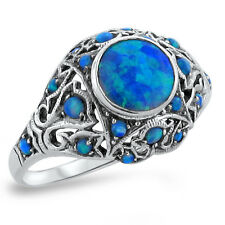 BLUE LAB FIRE OPAL ANTIQUE VICTORIAN STYLE .925 STERLING SILVER RING,       #250