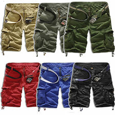 MENS MILITARY ARMY TROUSERS TACTICAL CAMO PANTS CARGO POCKET SOLID SHORTS SUMMER