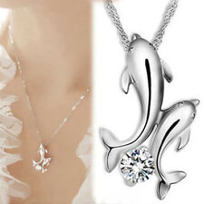 Hot Fashion Women Dolphin Silver Plated Crystal Necklace Pendant Chain Jewelry