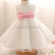 New Baby Toddler Girl Pageant Baptism Christening Wedding Formal Bow Dress 6-18M