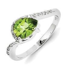 Sterling Silver Rhodium Plated Diamond and Peridot Oval Ring  QR4631PE