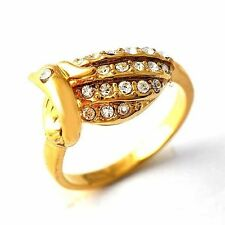 Fangle Clear Zircon Yellow Gold Filled Phoenix Pattern Love Ring Size 6,7,8,9
