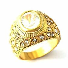 Twinkling bright Zircon Yellow Gold Filled Womens Mens Love Ring Size 7,8,9