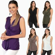 Womens Casual Chic Front Knot Sleevles V Neck Ruched Vest Party Top Blouse S-L