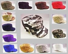 Casual Military Cap Fitted Hat Army Cadet Castro Camouflage & Solid Colors Adult