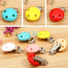 New Infant Baby Pacifier Suspender Clips Round Wood Metal Holders Dummy Nipples