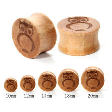 1 pair 00g-20mm Owl Wooden Ear Plug Gauges Expansion Earring Stretcher Piercing