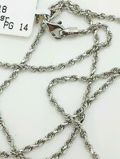 14k Solid White Gold Diamond Cut Twist Rope Necklace Pendant Chain 2.0mm 16-30""