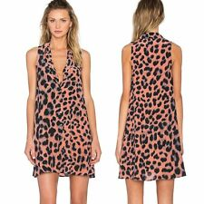 Women Animal Leopard Print Sexy Deep V Club Party  Casual Sleeveless Dress
