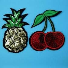 Pineapple Cherry Sequins Shining Iron on Sew Patch Applique Badge Embroidered
