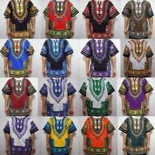 Dashiki Mens Shirt African Top Hippie Vintage Boho Tribal Womens Blouse One Size