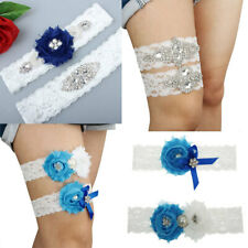 Vintage Wedding Garter Set Stretch Lace Rhinestone Crystal Flower Bridal Garter