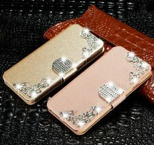Luxury Bling Diamond Leather Case Card Holder Wallet Cover For iPhone Samsung