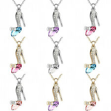 Charm Pendant Chain Gold/Silver Crystal High Heel Shoes Necklace Fashion Jewelry