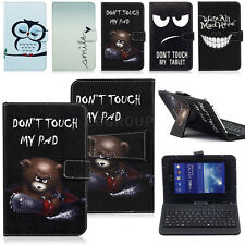 """Universal Flip Leather Case Cover W/ Micro USB Keyboard For 7"""" Android Tablet PC"""