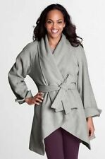 NEW LANDS END WOMENS XS S M XL HEATHER GRAY WOOL PARKA WRAP COAT W/ BELT JACKET