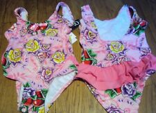 Girls XOXO Brand Pink Flowered 1 piece Swimsuit with Ruffle Size 4